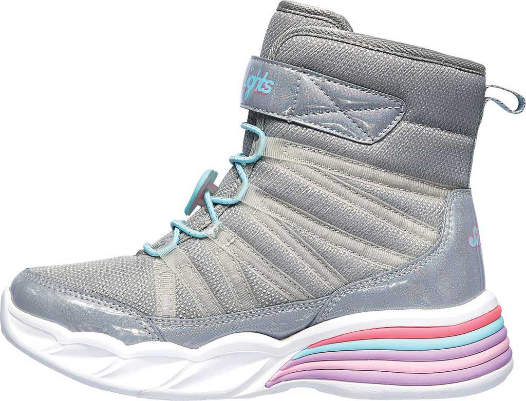 Girls' Skechers S Lights Sweetheart Lights Love to Shine Bootie, Grey/Aqua, large, image 3