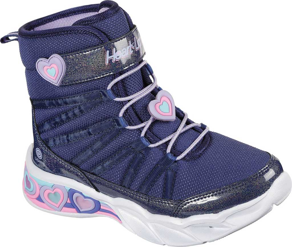 Girls' Skechers S Lights Sweetheart Lights Love to Shine Bootie, Navy/Lavender, large, image 1