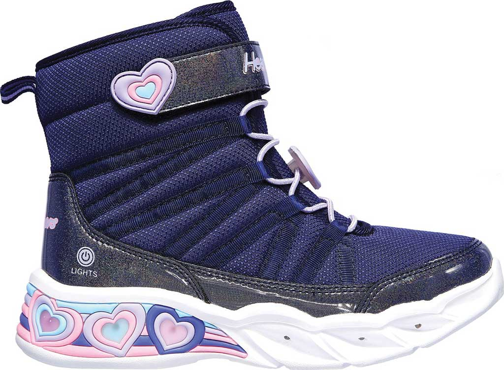 Girls' Skechers S Lights Sweetheart Lights Love to Shine Bootie, Navy/Lavender, large, image 2
