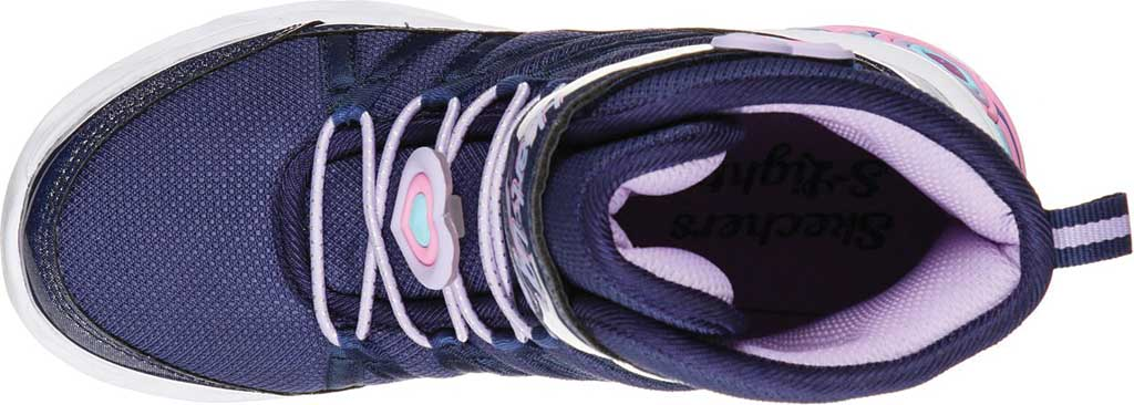 Girls' Skechers S Lights Sweetheart Lights Love to Shine Bootie, Navy/Lavender, large, image 4