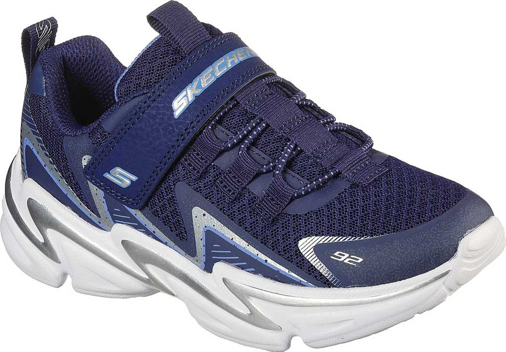 Boys' Skechers Wavetronic Trainer, Navy/Silver, large, image 1