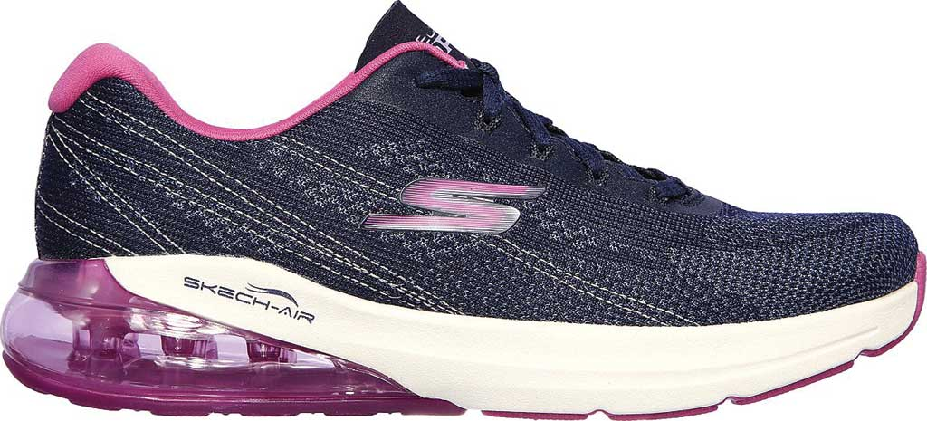 Women's Skechers GOrun Air Silver Sparkle Trainer, Navy/Pink, large, image 2