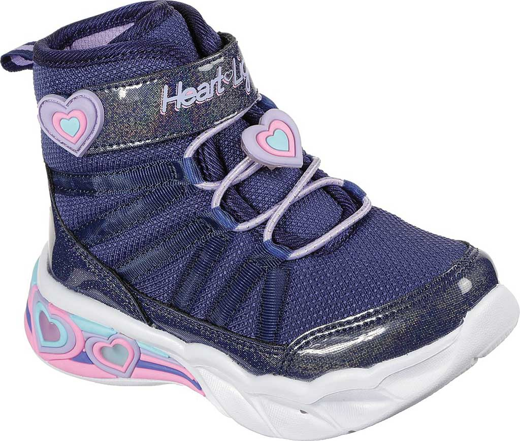 Infant Girls' Skechers S Lights Sweetheart Lights Love to Shine Bootie, Navy/Lavender, large, image 1