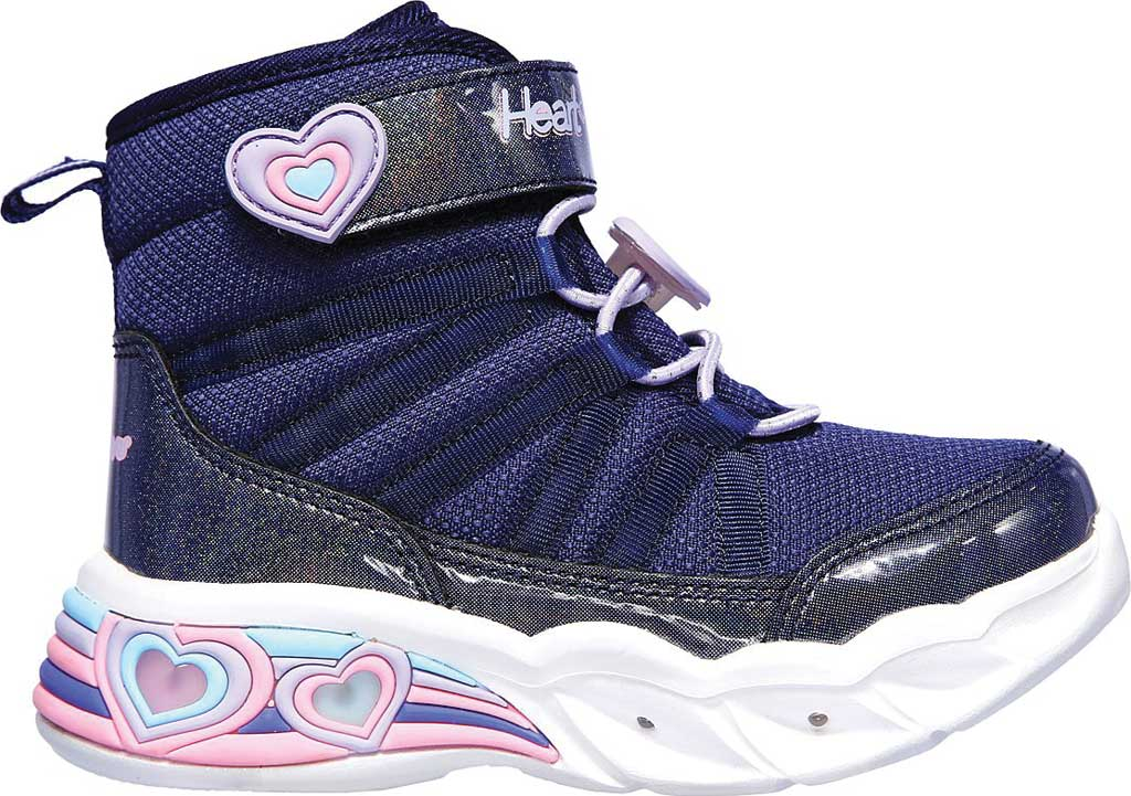 Infant Girls' Skechers S Lights Sweetheart Lights Love to Shine Bootie, Navy/Lavender, large, image 2