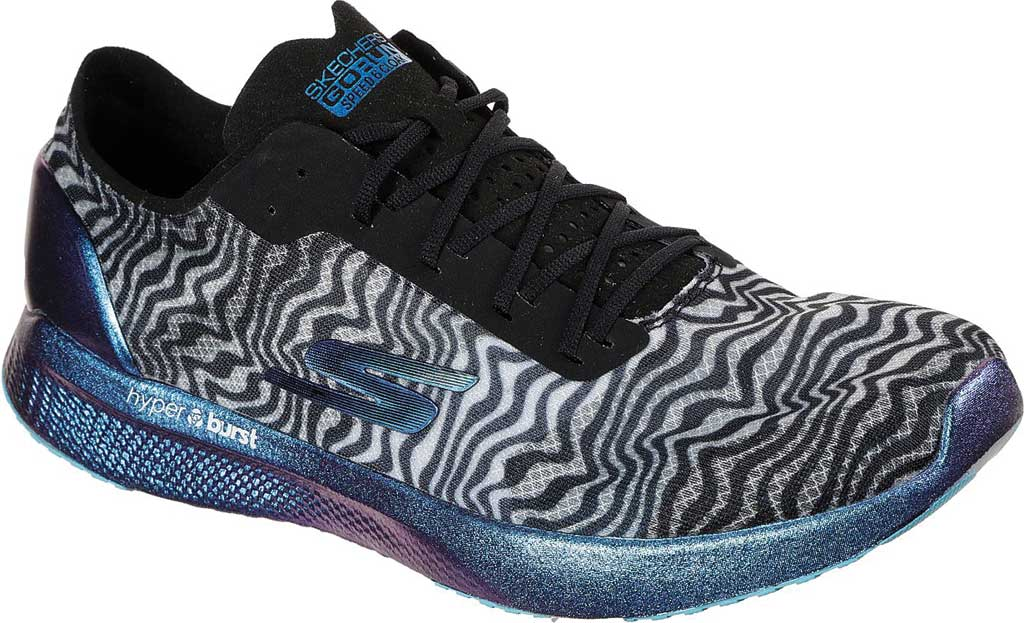 Women's Skechers GOmeb Speed 6 Cloak Hyper Running Sneaker, Black/Blue, large, image 1