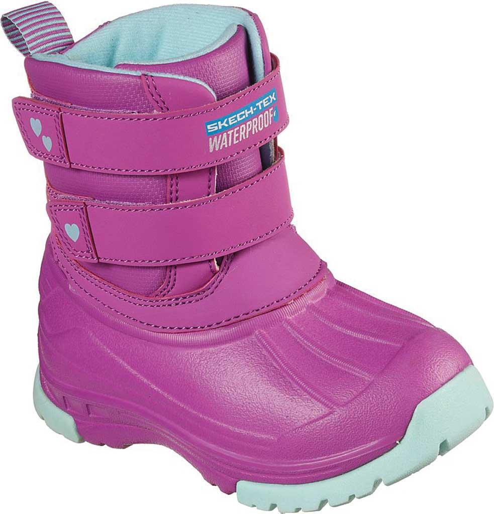 Infant Girls' Skechers Snow Slopes Rainier Days Waterproof Boot, Purple/Aqua, large, image 1