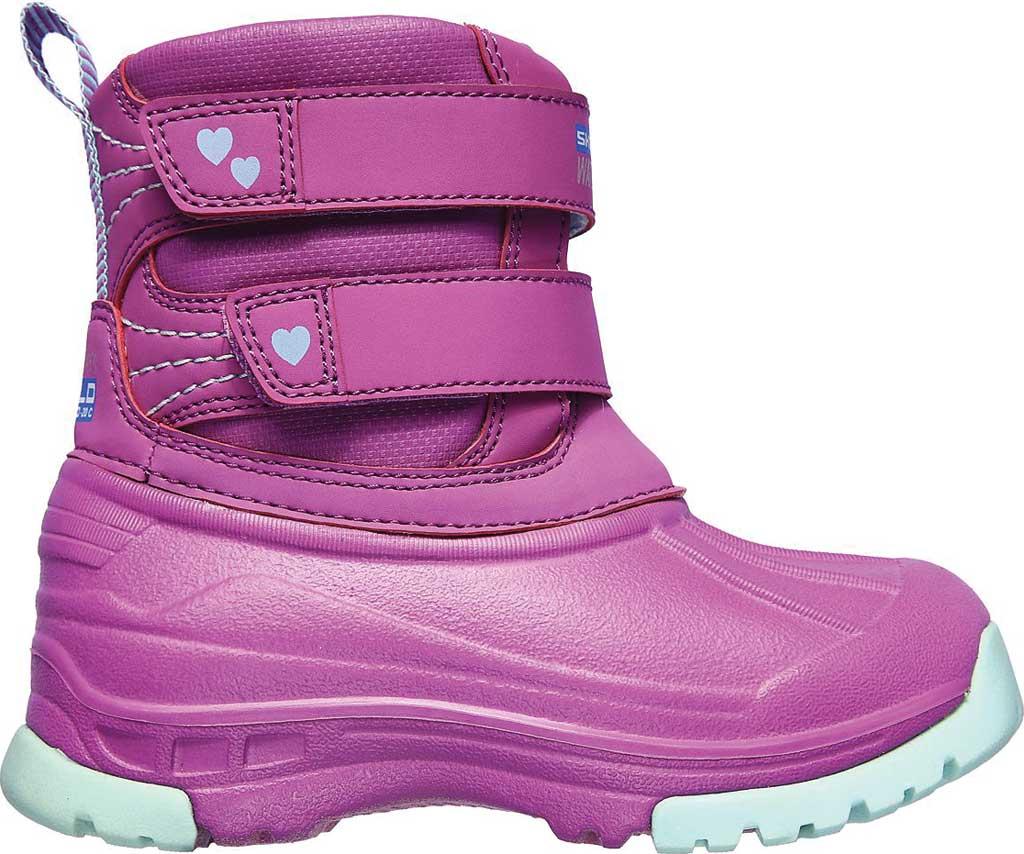 Infant Girls' Skechers Snow Slopes Rainier Days Waterproof Boot, Purple/Aqua, large, image 2