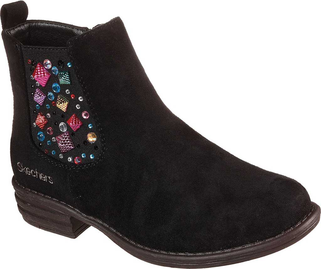 Girls' Skechers Mad Dash Sassy Sparkles Ankle Bootie, Black, large, image 1