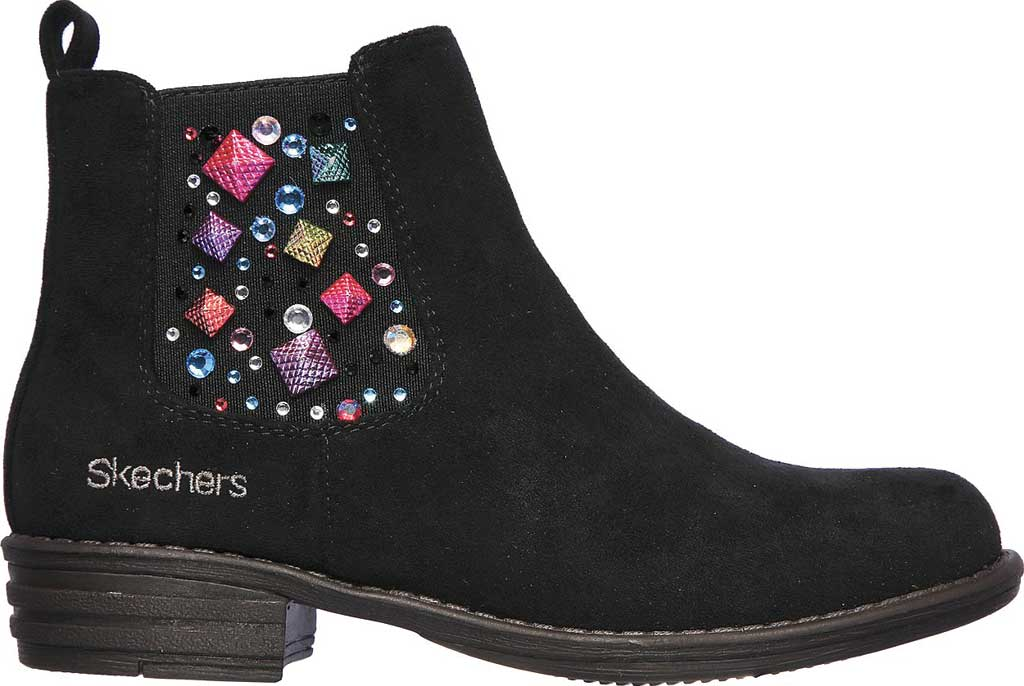 Girls' Skechers Mad Dash Sassy Sparkles Ankle Bootie, Black, large, image 2