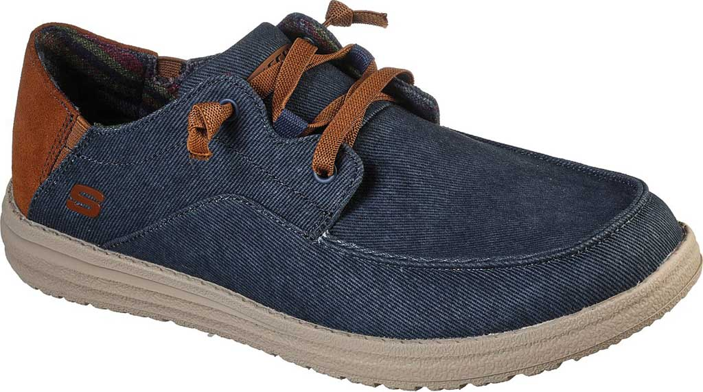 Men's Skechers Relaxed Fit Melson Planon Moc Toe Slip On, Navy, large, image 1