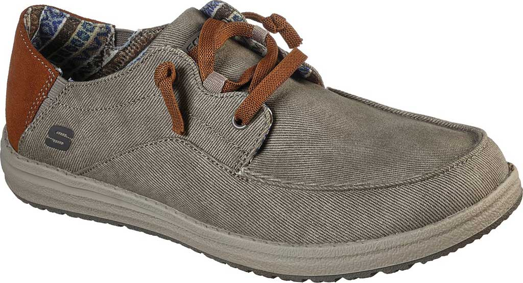 Men's Skechers Relaxed Fit Melson Planon Moc Toe Slip On, Taupe, large, image 1