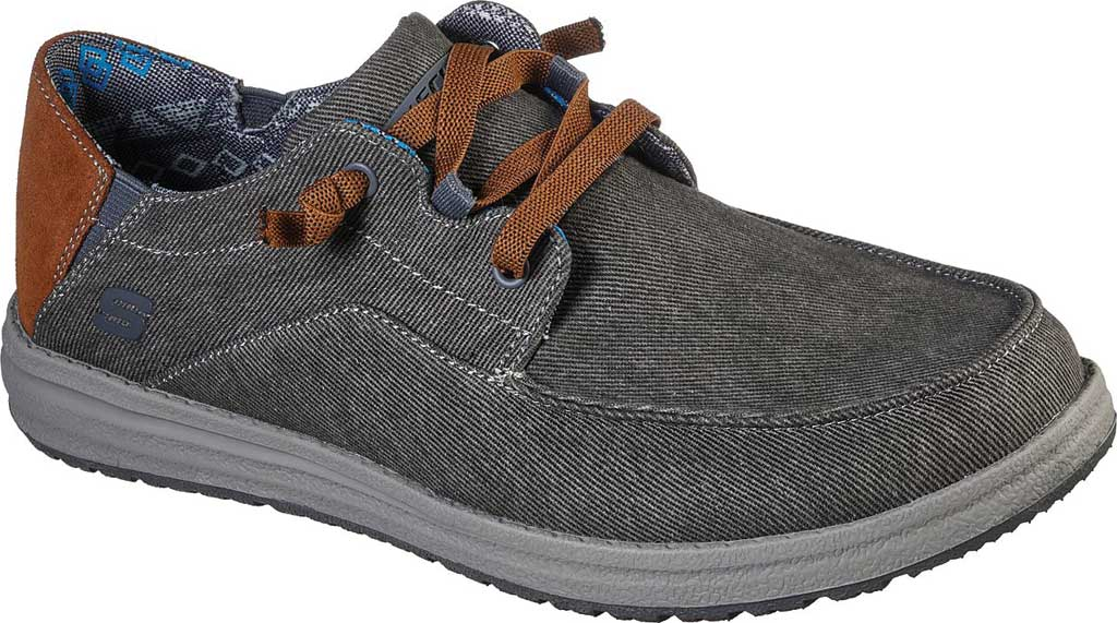 Men's Skechers Relaxed Fit Melson Planon Moc Toe Slip On, Charcoal, large, image 1