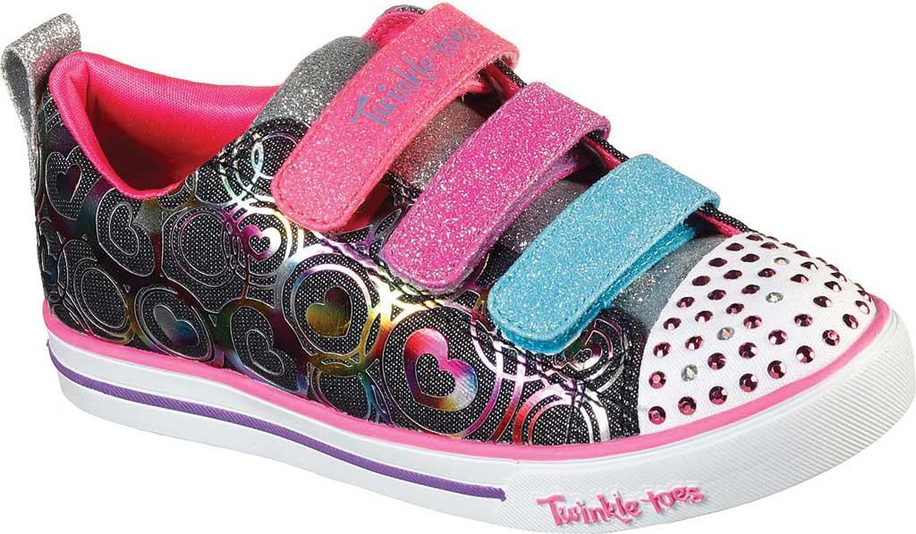 Girls' Skechers Twinkle Toes Sparkle Lite Heartsland Sneaker, Black Multi, large, image 1