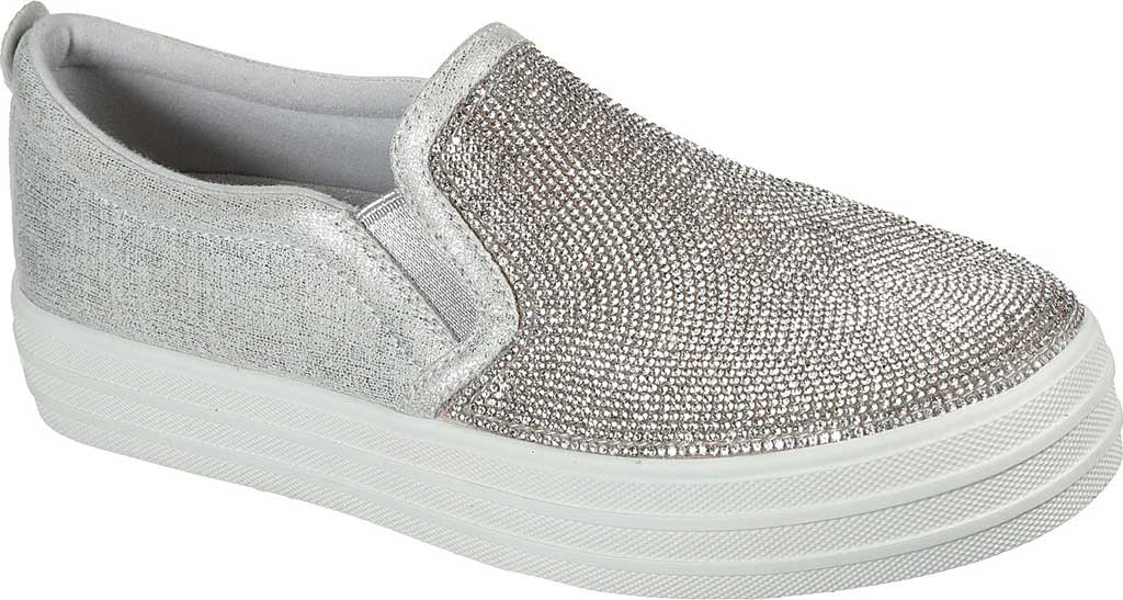 Women's Skechers Double Up Shine Bright Slip On Sneaker, Silver Rhinestone Synthetic, large, image 1