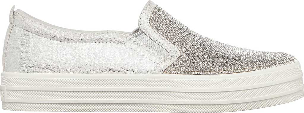 Women's Skechers Double Up Shine Bright Slip On Sneaker, Silver Rhinestone Synthetic, large, image 2