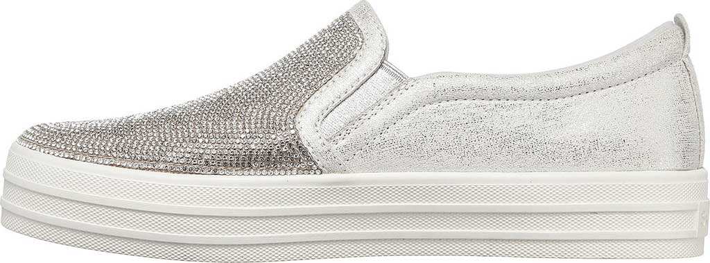 Women's Skechers Double Up Shine Bright Slip On Sneaker, Silver Rhinestone Synthetic, large, image 3