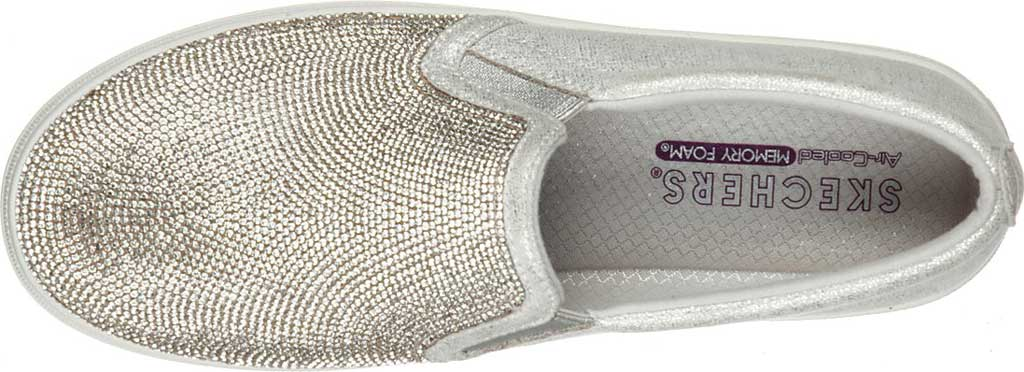 Women's Skechers Double Up Shine Bright Slip On Sneaker, Silver Rhinestone Synthetic, large, image 4