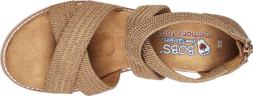 Women's Skechers BOBS Desert Kiss Desert Night Wedge Sandal, Tan Woven Fabric, large, image 4