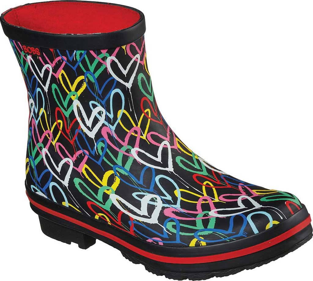 Women's Skechers BOBS Rain Check Raining Love Rain Boot, Black/Multi Rubber, large, image 1