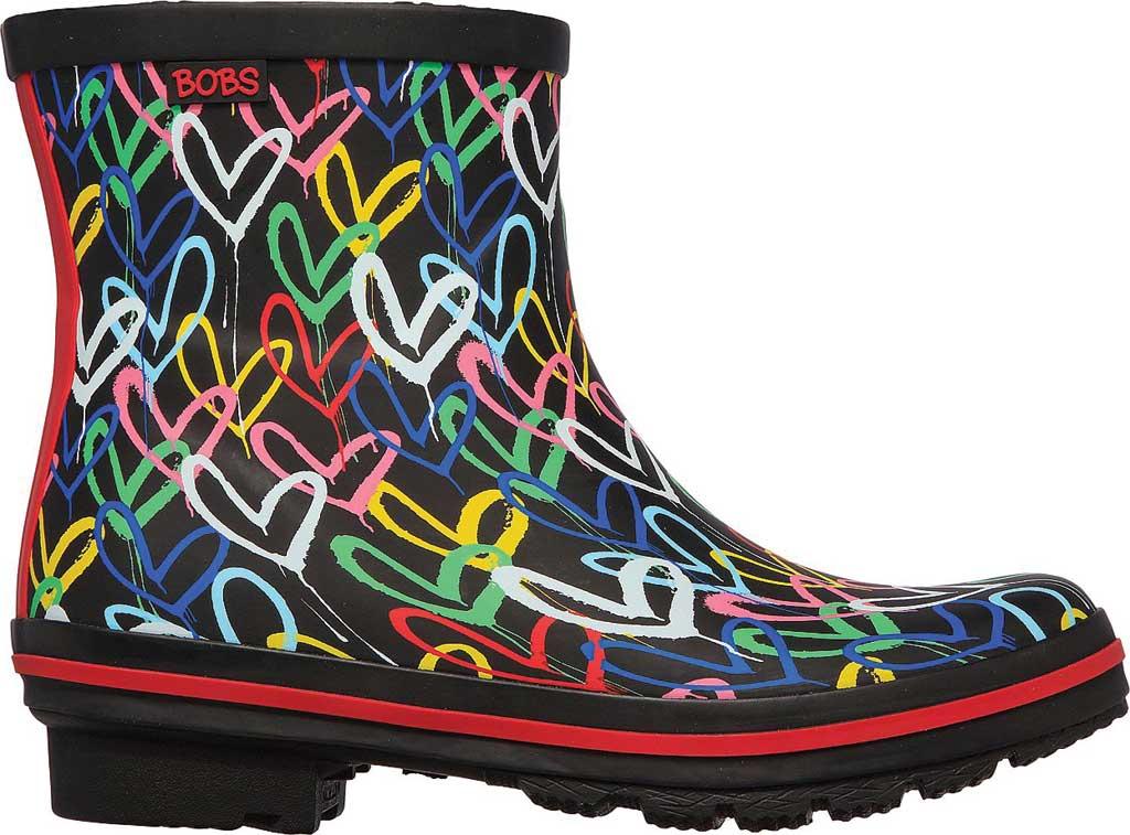 Women's Skechers BOBS Rain Check Raining Love Rain Boot, Black/Multi Rubber, large, image 2
