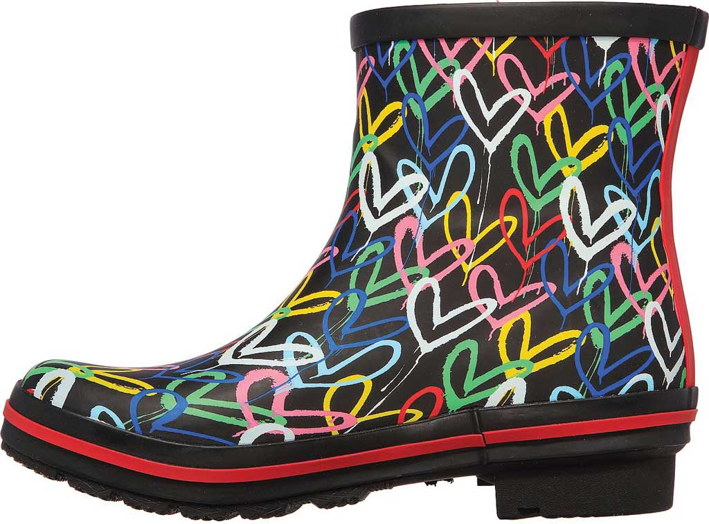 Women's Skechers BOBS Rain Check Raining Love Rain Boot, Black/Multi Rubber, large, image 3
