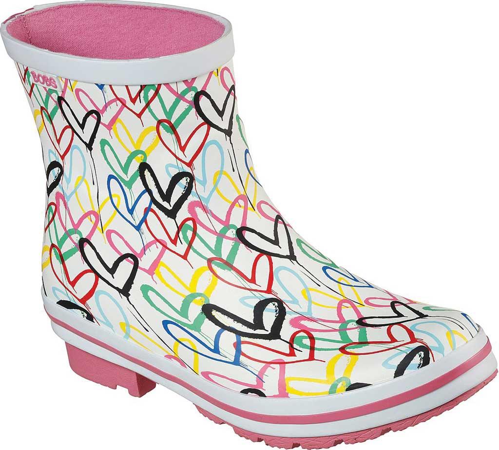 Women's Skechers BOBS Rain Check Raining Love Rain Boot, White/Multi Rubber, large, image 1