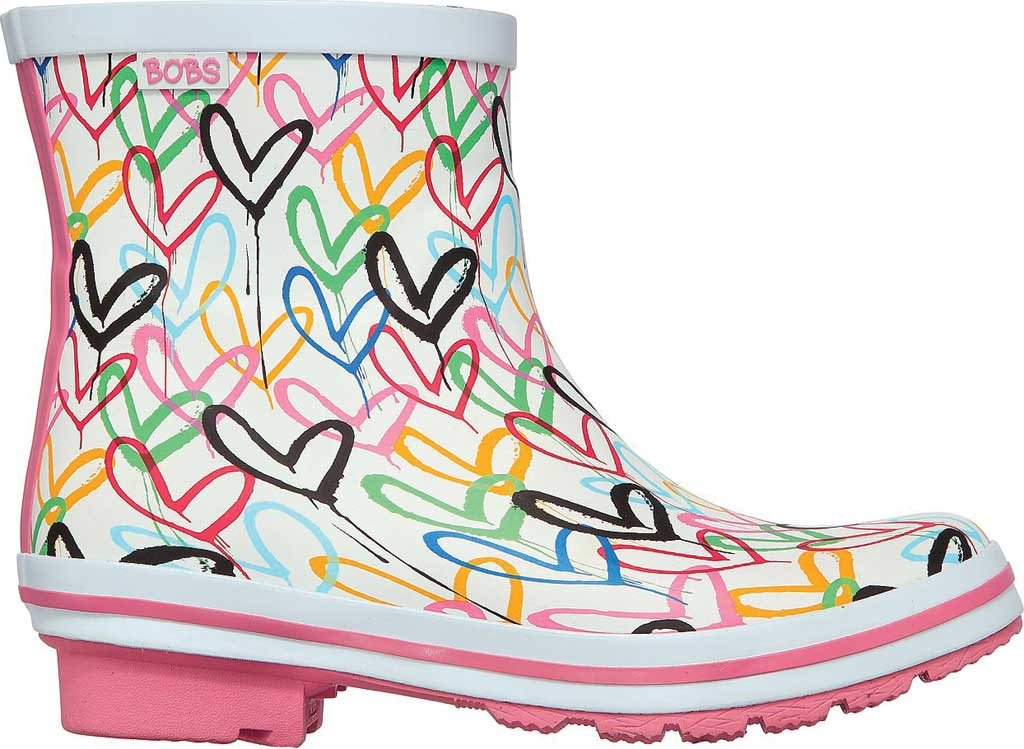 Women's Skechers BOBS Rain Check Raining Love Rain Boot, White/Multi Rubber, large, image 2