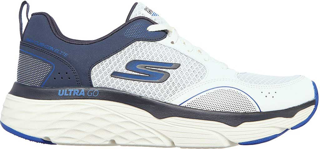 Men's Skechers Max Cushioning Elite Rivalry Sneaker, White/Navy, large, image 2