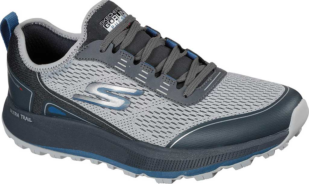 Men's Skechers GOrun Pulse Trail Expedition Trail Shoe, Gray/Charcoal, large, image 1