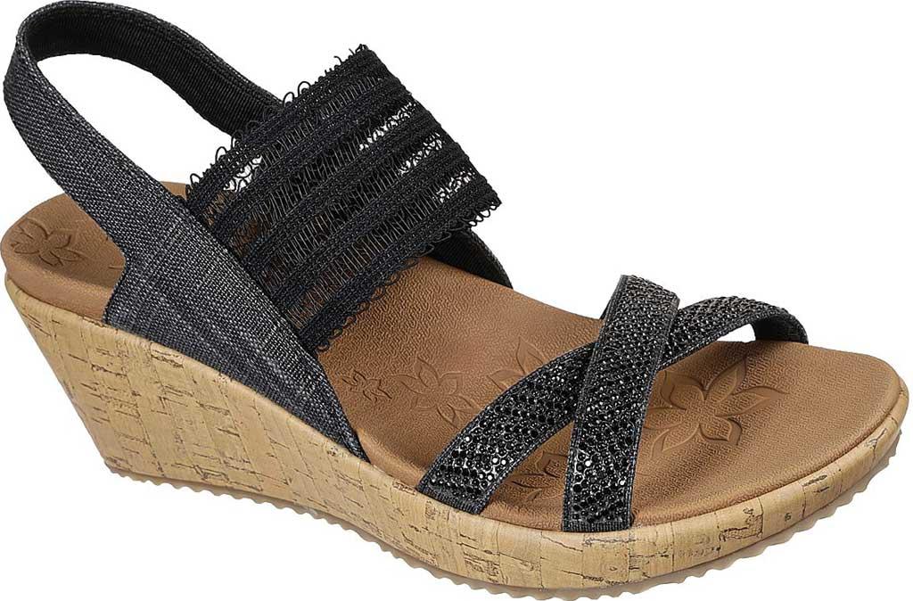 Women's Skechers Beverlee Fancy Sips Vegan Wedge Strappy Sandal, Black, large, image 1