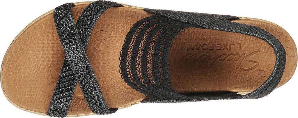 Women's Skechers Beverlee Fancy Sips Vegan Wedge Strappy Sandal, Black, large, image 4
