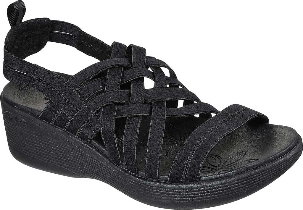 Women's Skechers Pier-Lite Vegan Strappy Wedge Sandal, Black/Black, large, image 1