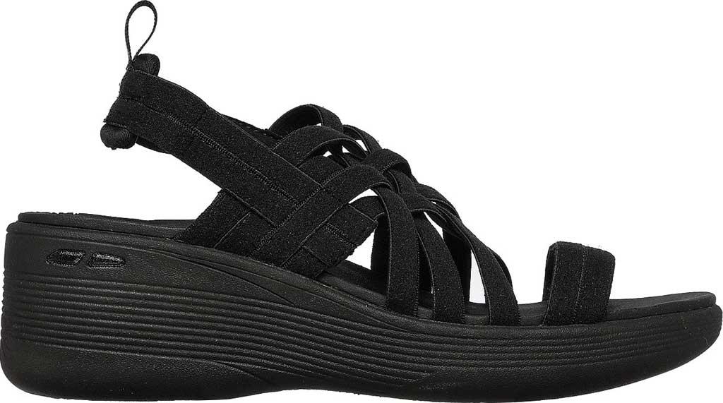 Women's Skechers Pier-Lite Vegan Strappy Wedge Sandal, Black/Black, large, image 2