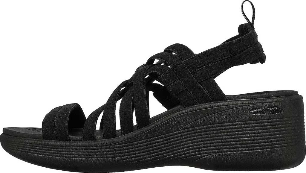 Women's Skechers Pier-Lite Vegan Strappy Wedge Sandal, Black/Black, large, image 3