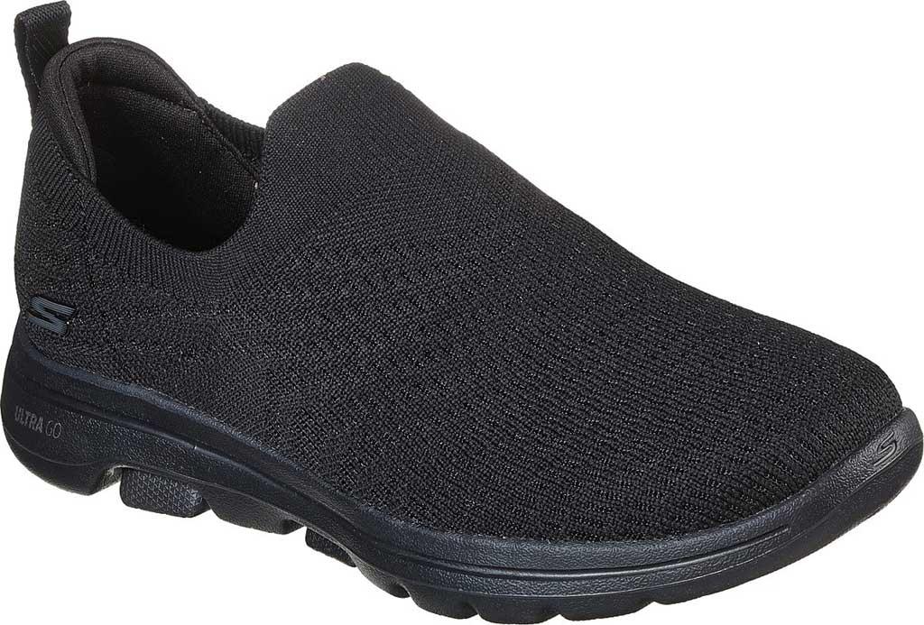 Women's Skechers GOwalk 5 Coastal View Walking Sneaker, Black/Black, large, image 1