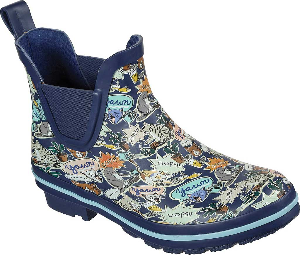 Women's Skechers BOBS Rain Check Shower Power Rain Boot, Navy/Multi, large, image 1