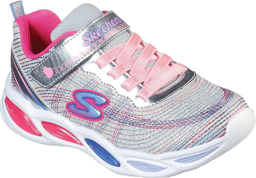 Girls' Skechers S Lights Shimmer Beams Sparkle Glitz Sneaker, Silver/Multi, large, image 1