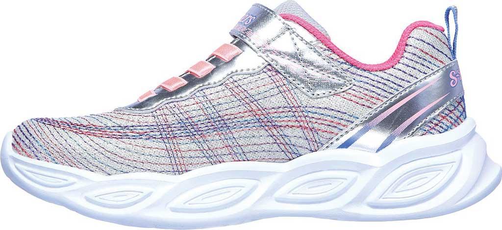 Girls' Skechers S Lights Shimmer Beams Sparkle Glitz Sneaker, Silver/Multi, large, image 3