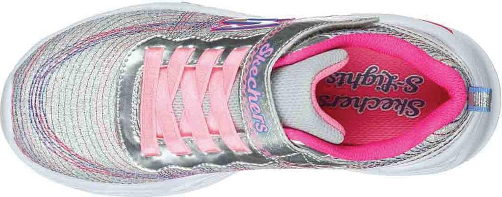 Girls' Skechers S Lights Shimmer Beams Sparkle Glitz Sneaker, Silver/Multi, large, image 4