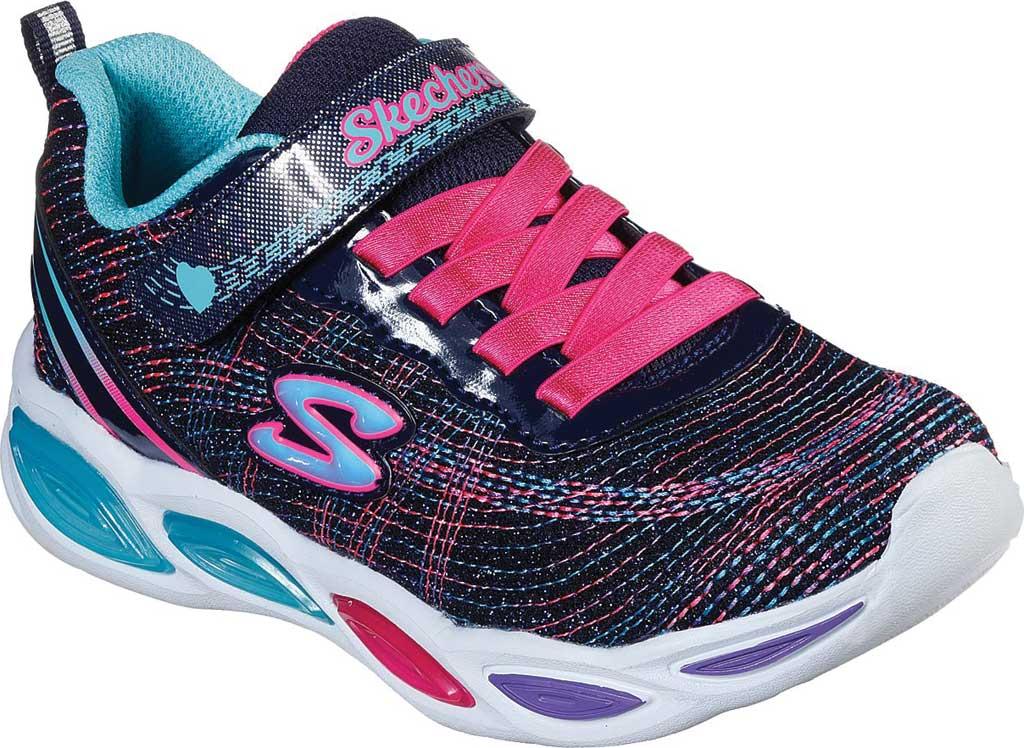Girls' Skechers S Lights Shimmer Beams Sparkle Glitz Sneaker, Navy/Multi, large, image 1