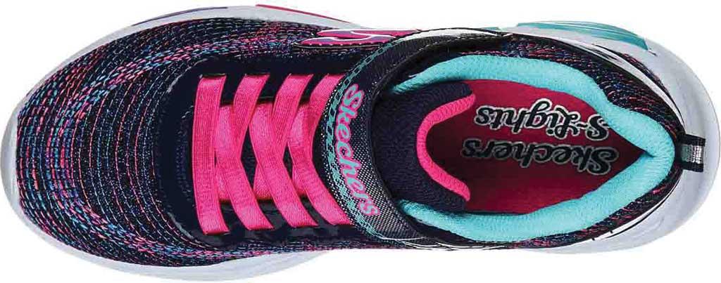 Girls' Skechers S Lights Shimmer Beams Sparkle Glitz Sneaker, Navy/Multi, large, image 4