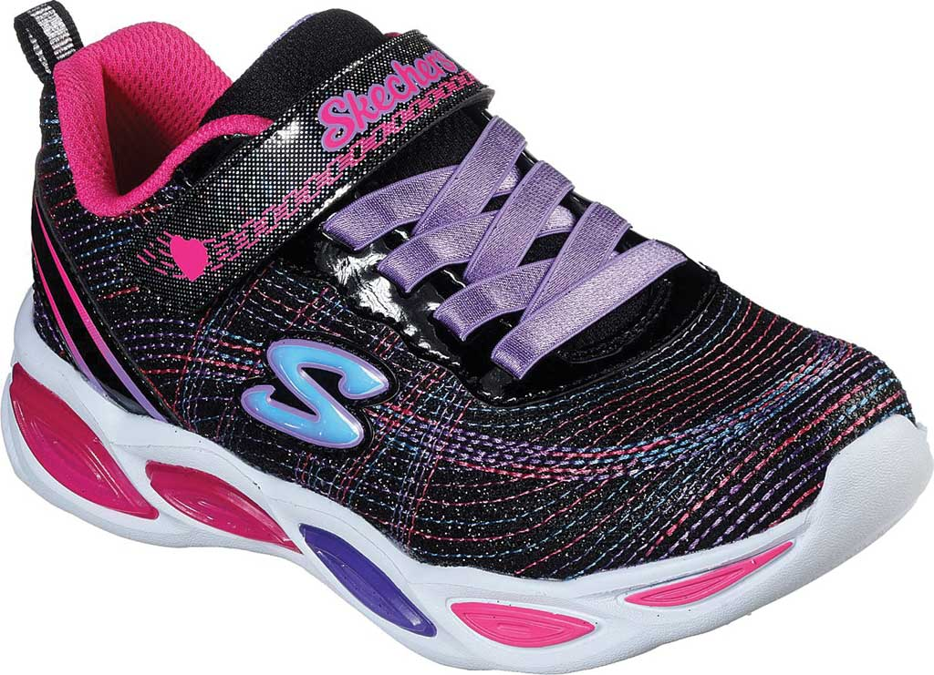 Girls' Skechers S Lights Shimmer Beams Sparkle Glitz Sneaker, Black/Multi, large, image 1