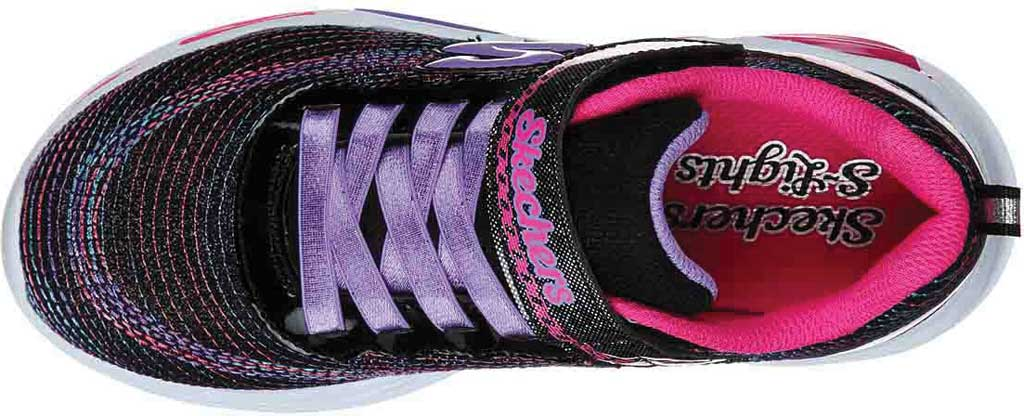 Girls' Skechers S Lights Shimmer Beams Sparkle Glitz Sneaker, Black/Multi, large, image 4