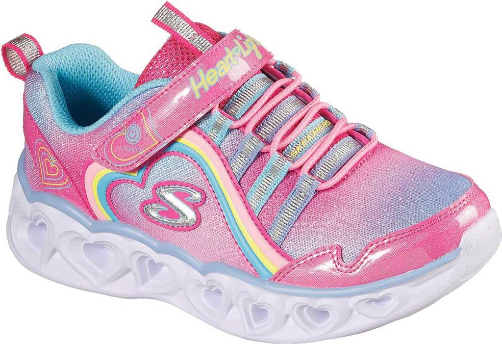 Girls' Skechers S Lights Heart Lights Rainbow Lux Sneaker, Pink/Multi, large, image 1