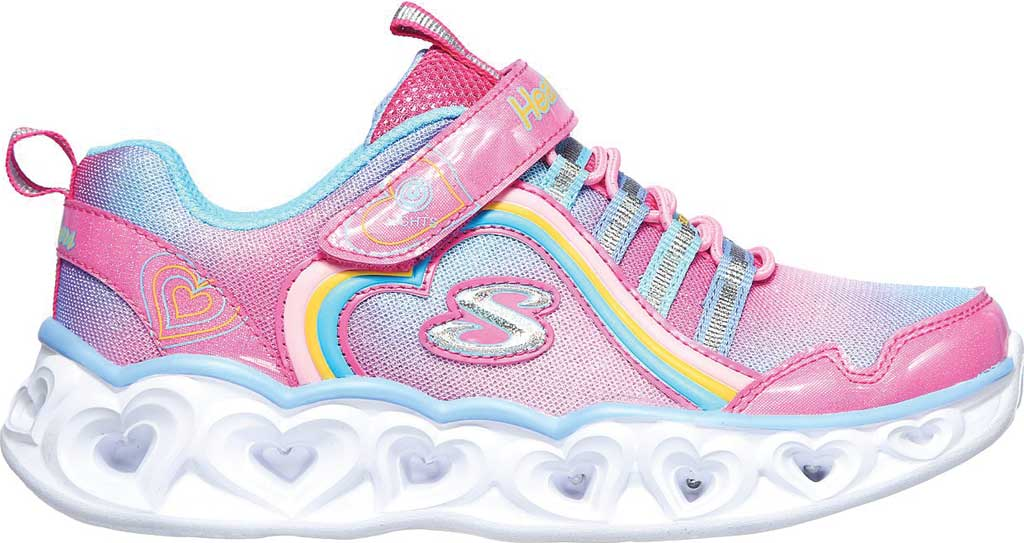 Girls' Skechers S Lights Heart Lights Rainbow Lux Sneaker, Pink/Multi, large, image 2