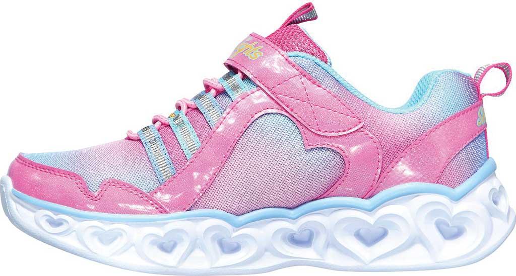 Girls' Skechers S Lights Heart Lights Rainbow Lux Sneaker, Pink/Multi, large, image 3