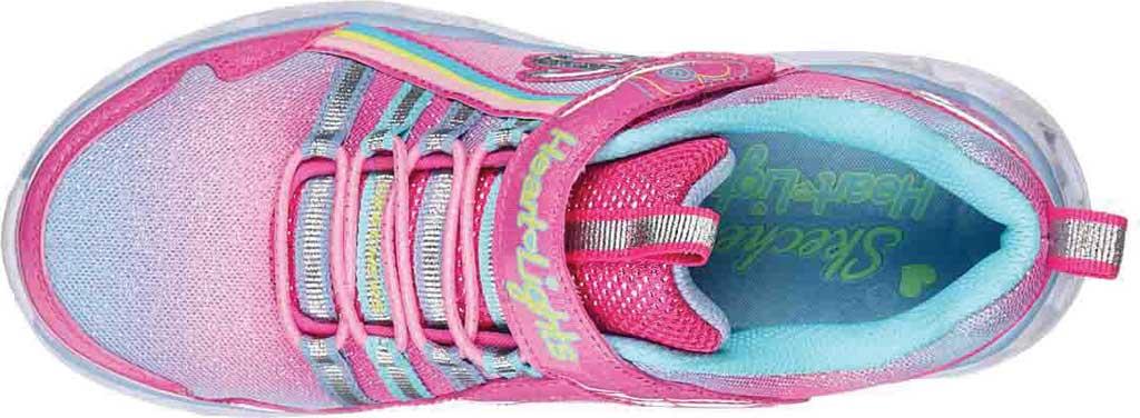 Girls' Skechers S Lights Heart Lights Rainbow Lux Sneaker, Pink/Multi, large, image 4