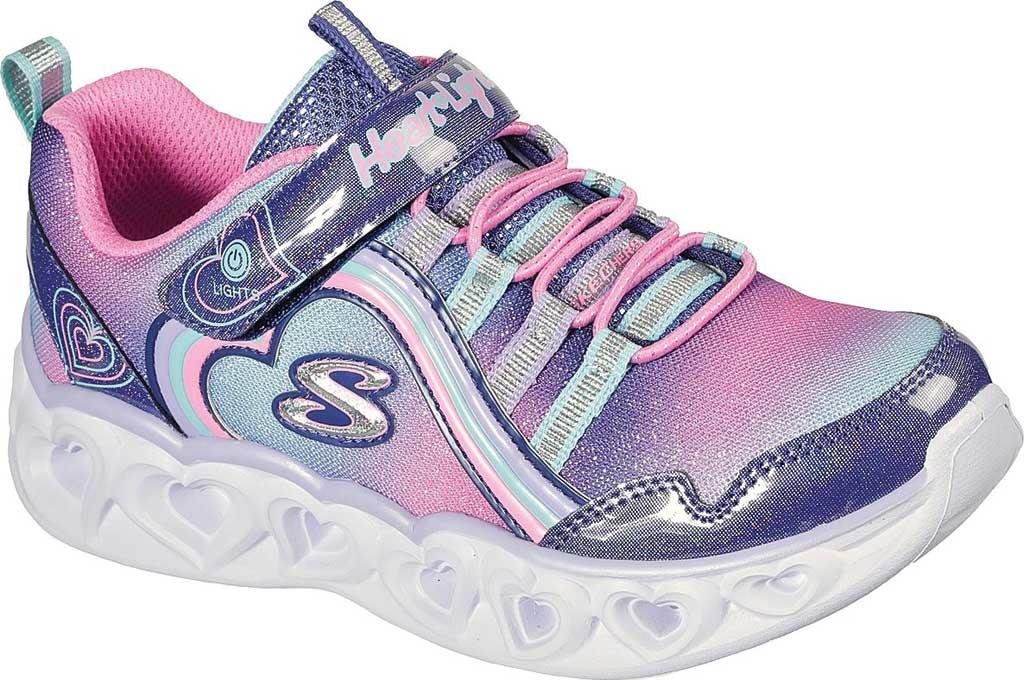Girls' Skechers S Lights Heart Lights Rainbow Lux Sneaker, Navy/Multi, large, image 1