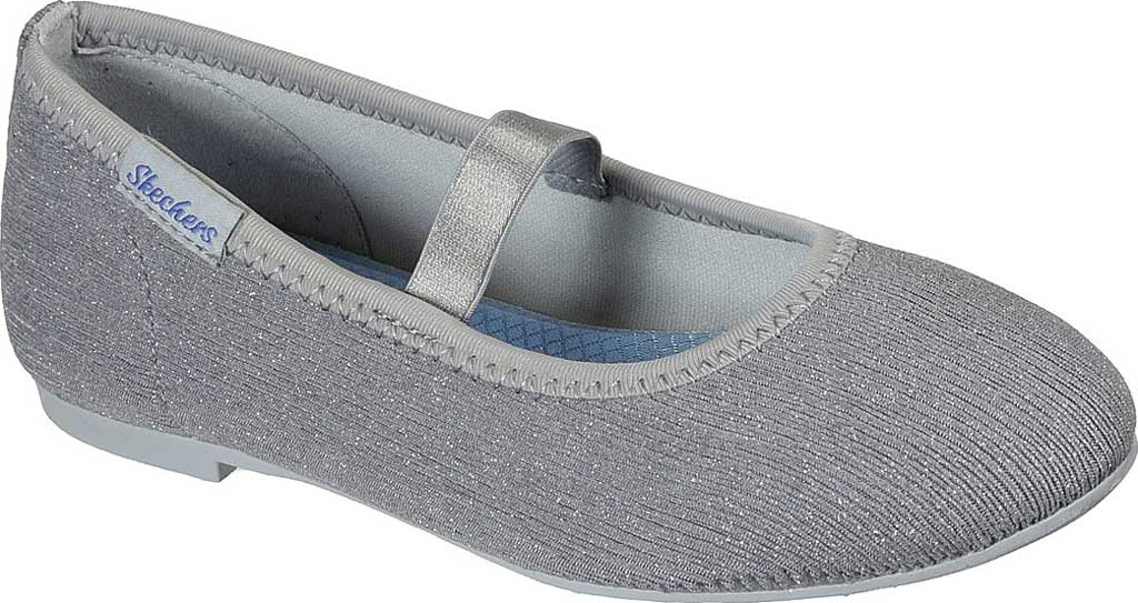Girls' Skechers Cleo Round Sparkle Steps Mary Jane, Silver, large, image 1