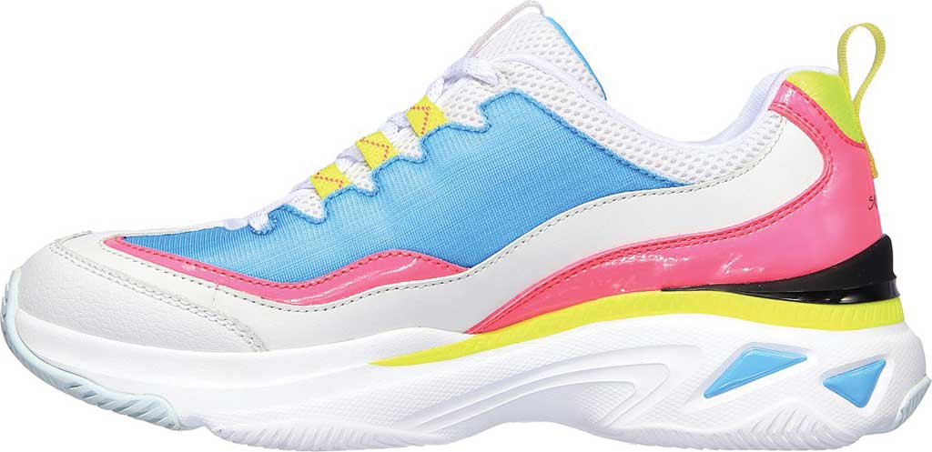 Women's Skechers Energy Racer She's Iconic Trainer, White/Blue/Pink, large, image 3